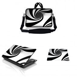 Notebook / Netbook Sleeve Carrying Case w/ Handle & Adjustable Shoulder Strap & Matching Skin & Mouse Pad – Tornado White and Black Swirl