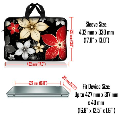 Notebook / Netbook Sleeve Carrying Case w/ Handle & Adjustable Shoulder Strap & Matching Skin & Mouse Pad – Black Gray Red Flower Leaves