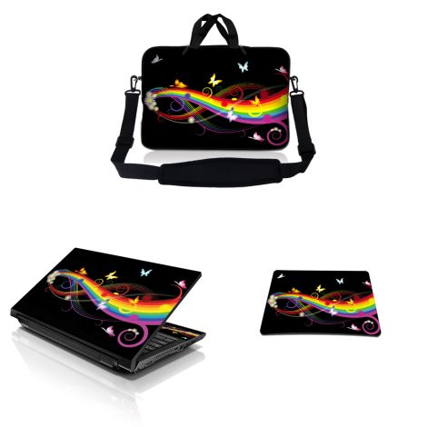 Notebook / Netbook Sleeve Carrying Case w/ Handle & Adjustable Shoulder Strap & Matching Skin & Mouse Pad – Rainbow Butterfly