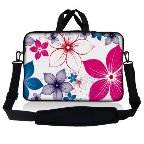 Notebook / Netbook Sleeve Carrying Case w/ Handle & Adjustable Shoulder Strap & Matching Skin & Mouse Pad – White Pink Blue Flower Leaves