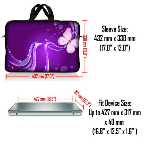 Notebook / Netbook Sleeve Carrying Case w/ Handle & Adjustable Shoulder Strap & Matching Skin & Mouse Pad – Purple Butterfly Floral