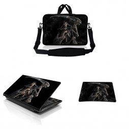Notebook / Netbook Sleeve Carrying Case w/ Handle & Adjustable Shoulder Strap & Matching Skin & Mouse Pad – Reaper Skull