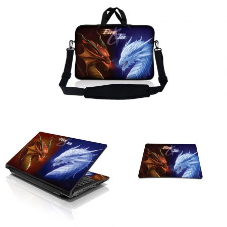 Notebook / Netbook Sleeve Carrying Case w/ Handle & Adjustable Shoulder Strap & Matching Skin & Mouse Pad – Fire & Ice Dragons