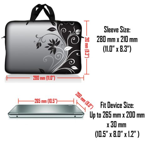 Notebook / Netbook Sleeve Carrying Case w/ Handle & Adjustable Shoulder Strap & Matching Skin & Mouse Pad – Gray Black Swirl Floral