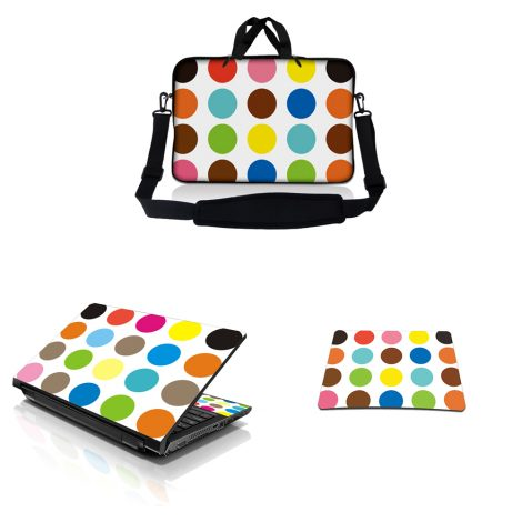 Notebook / Netbook Sleeve Carrying Case w/ Handle & Adjustable Shoulder Strap & Matching Skin & Mouse Pad – Polka Dots