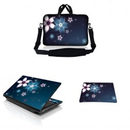Notebook / Netbook Sleeve Carrying Case w/ Handle & Adjustable Shoulder Strap & Matching Skin & Mouse Pad – Plumeria Flower Floral