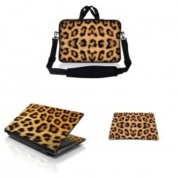 Notebook / Netbook Sleeve Carrying Case w/ Handle & Adjustable Shoulder Strap & Matching Skin & Mouse Pad – Leopard Print