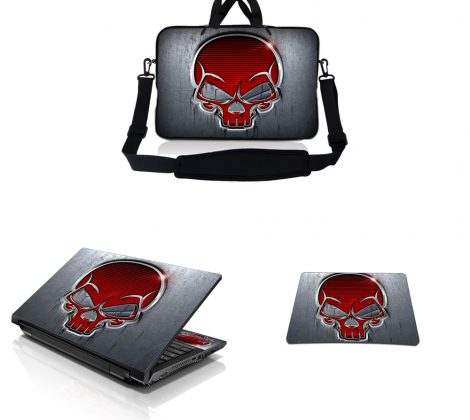 Notebook / Netbook Sleeve Carrying Case w/ Handle & Adjustable Shoulder Strap & Matching Skin & Mouse Pad – Silver Red Skull
