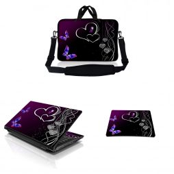 Notebook / Netbook Sleeve Carrying Case w/ Handle & Adjustable Shoulder Strap & Matching Skin & Mouse Pad – Butterfly Heart Floral