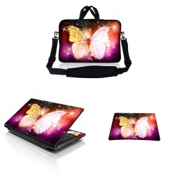 Notebook / Netbook Sleeve Carrying Case w/ Handle & Adjustable Shoulder Strap & Matching Skin & Mouse Pad – Sparkling Butterfly