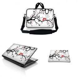 Notebook / Netbook Sleeve Carrying Case w/ Handle & Adjustable Shoulder Strap & Matching Skin & Mouse Pad – Love Birds