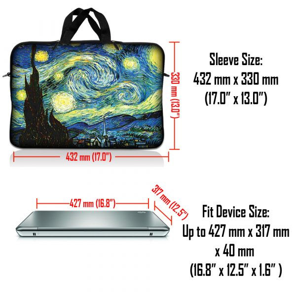 Notebook / Netbook Sleeve Carrying Case w/ Handle & Adjustable Shoulder Strap & Matching Skin & Mouse Pad – Starry Night