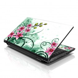 Notebook / Netbook Sleeve Carrying Case w/ Handle & Adjustable Shoulder Strap & Matching Skin & Mouse Pad – Pink Flower Floral