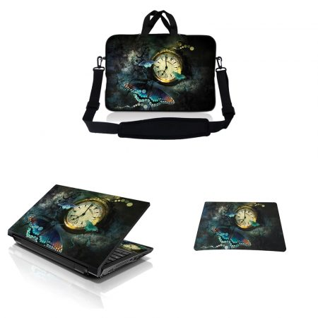 Notebook / Netbook Sleeve Carrying Case w/ Handle & Adjustable Shoulder Strap & Matching Skin & Mouse Pad – Butterfly Floral
