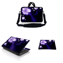 Notebook / Netbook Sleeve Carrying Case w/ Handle & Adjustable Shoulder Strap & Matching Skin & Mouse Pad – Purple Flower Floral