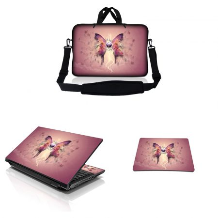 Notebook / Netbook Sleeve Carrying Case w/ Handle & Adjustable Shoulder Strap & Matching Skin & Mouse Pad – Pink Buttefly Floral