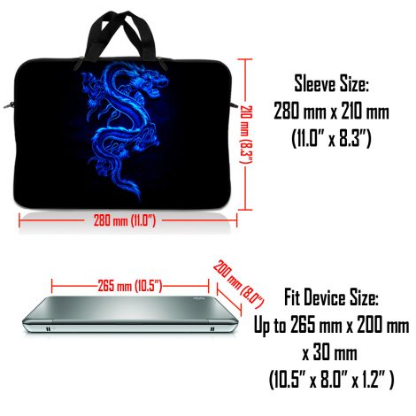 Notebook / Netbook Sleeve Carrying Case w/ Handle & Adjustable Shoulder Strap & Matching Skin & Mouse Pad – Blue Dragon