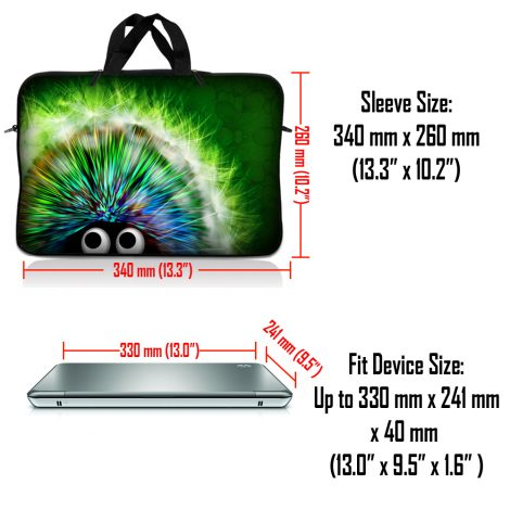 Notebook / Netbook Sleeve Carrying Case w/ Handle & Adjustable Shoulder Strap & Matching Skin & Mouse Pad – Hedgehog