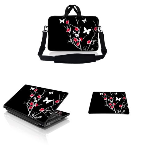 Notebook / Netbook Sleeve Carrying Case w/ Handle & Adjustable Shoulder Strap & Matching Skin & Mouse Pad – Pink Gray Floral