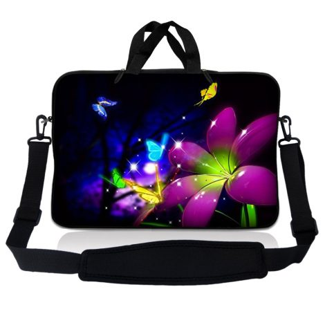 Notebook / Netbook Sleeve Carrying Case w/ Handle & Adjustable Shoulder Strap & Matching Skin & Mouse Pad – Purple Blue Floral