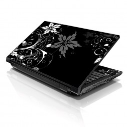 Notebook / Netbook Sleeve Carrying Case w/ Handle & Adjustable Shoulder Strap & Matching Skin & Mouse Pad – Black and White Floral