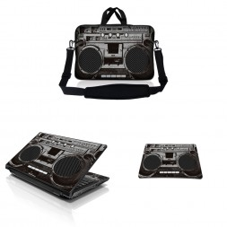 Notebook / Netbook Sleeve Carrying Case w/ Handle & Adjustable Shoulder Strap & Matching Skin & Mouse Pad – Cassette Player Design