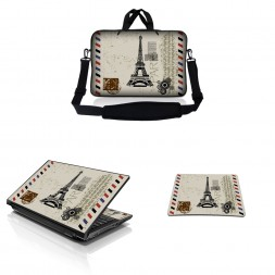 Notebook / Netbook Sleeve Carrying Case w/ Handle & Adjustable Shoulder Strap & Matching Skin & Mouse Pad – Paris Design