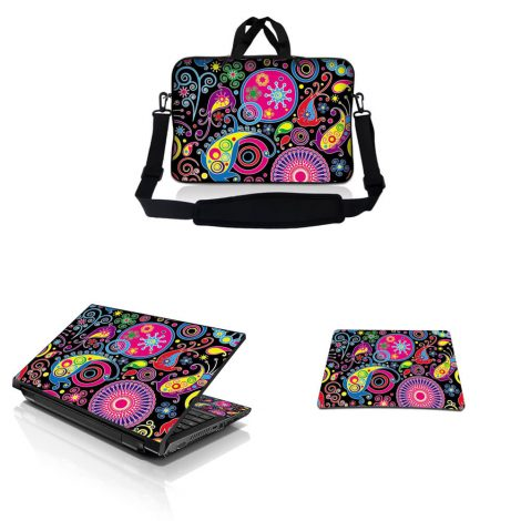 Notebook / Netbook Sleeve Carrying Case w/ Handle & Adjustable Shoulder Strap & Matching Skin & Mouse Pad – Art Design