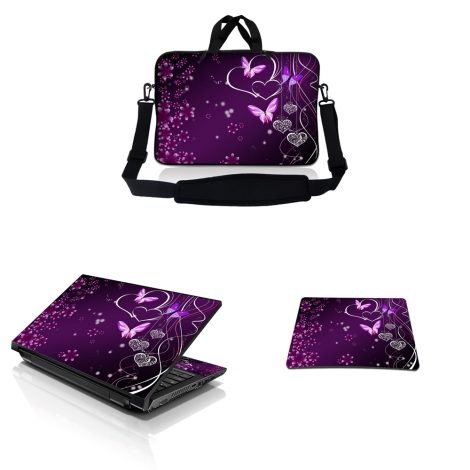 Notebook / Netbook Sleeve Carrying Case w/ Handle & Adjustable Shoulder Strap & Matching Skin & Mouse Pad – Purple Heart Butterfly