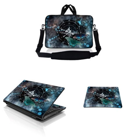 Notebook / Netbook Sleeve Carrying Case w/ Handle & Adjustable Shoulder Strap & Matching Skin & Mouse Pad – Clock Butterfly Time