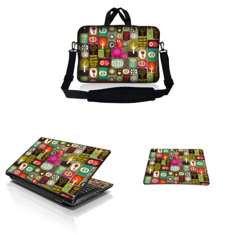 Notebook / Netbook Sleeve Carrying Case w/ Handle & Adjustable Shoulder Strap & Matching Skin & Mouse Pad – Symbols