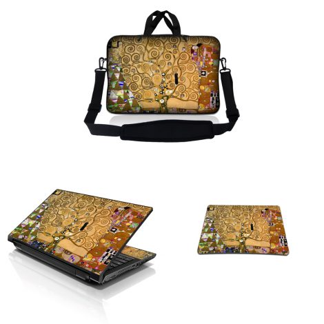 Notebook / Netbook Sleeve Carrying Case w/ Handle & Adjustable Shoulder Strap & Matching Skin & Mouse Pad – Klimt Tree of Life