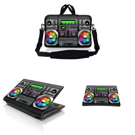 Notebook / Netbook Sleeve Carrying Case w/ Handle & Adjustable Shoulder Strap & Matching Skin & Mouse Pad – Boom Box Music