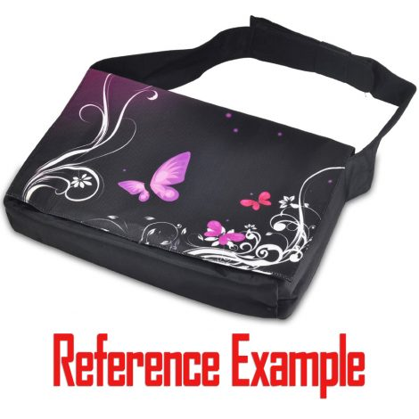 Laptop Padded Compartment Shoulder Messenger Bag Carrying Case - Purple Butterfly Floral