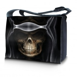 Laptop Padded Compartment Shoulder Messenger Bag Carrying Case - Hooded Dark Lord Skull
