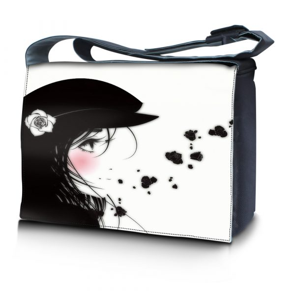 Laptop Padded Compartment Shoulder Messenger Bag Carrying Case - Girl with White Rose