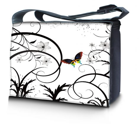 Laptop Padded Compartment Shoulder Messenger Bag Carrying Case - White Butterfly Escape Floral