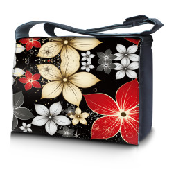Laptop Padded Compartment Shoulder Messenger Bag Carrying Case - Black Gray Red Flower Leaves