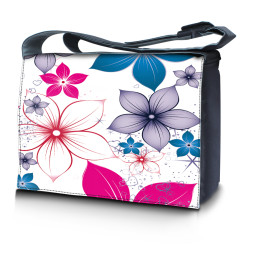 Laptop Padded Compartment Shoulder Messenger Bag Carrying Case - White Pink Blue Flower Leaves