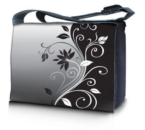 Laptop Padded Compartment Shoulder Messenger Bag Carrying Case - Gray Black Swirl Floral