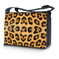 Laptop Padded Compartment Shoulder Messenger Bag Carrying Case - Leopard Print