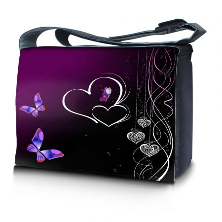 Laptop Padded Compartment Shoulder Messenger Bag Carrying Case - Butterfly Heart Floral