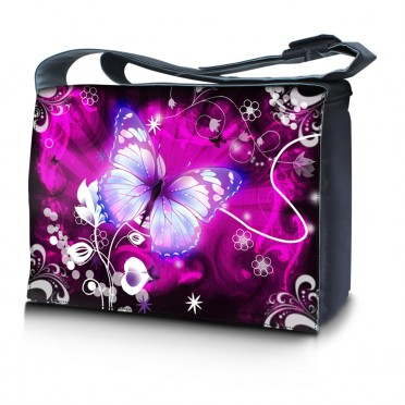 Laptop Padded Compartment Shoulder Messenger Bag Carrying Case - Butterfly Purple