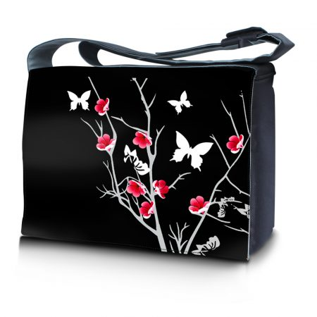 Laptop Padded Compartment Shoulder Messenger Bag Carrying Case - Black Red Flowers Butterfly