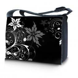 Laptop Padded Compartment Shoulder Messenger Bag Carrying Case - Black and White Floral