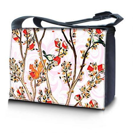 Laptop Padded Compartment Shoulder Messenger Bag Carrying Case - Birds and Animals on Branches Love