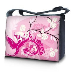 Laptop Padded Compartment Shoulder Messenger Bag Carrying Case - Pink Birds Floral