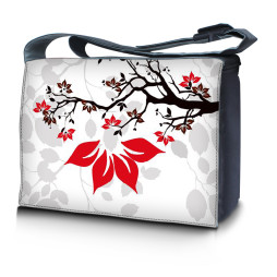 Laptop Padded Compartment Shoulder Messenger Bag Carrying Case - White Grey Branches Floral