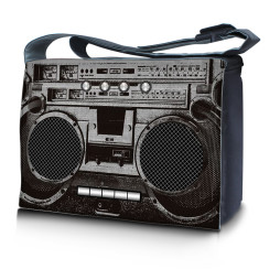 Laptop Padded Compartment Shoulder Messenger Bag Carrying Case - Cassette Player Design