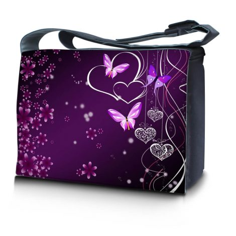 Laptop Padded Compartment Shoulder Messenger Bag Carrying Case – Purple Heart Butterfly